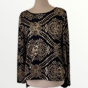 Black top with gold sequin design